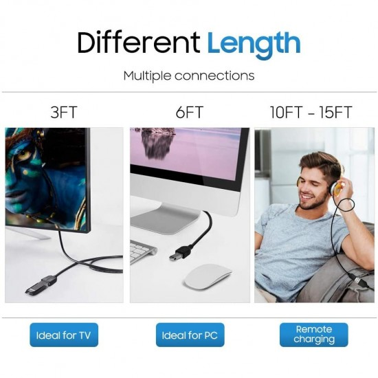 Cablu USB, prelungitor mama-tata,A-B, 10m negru
