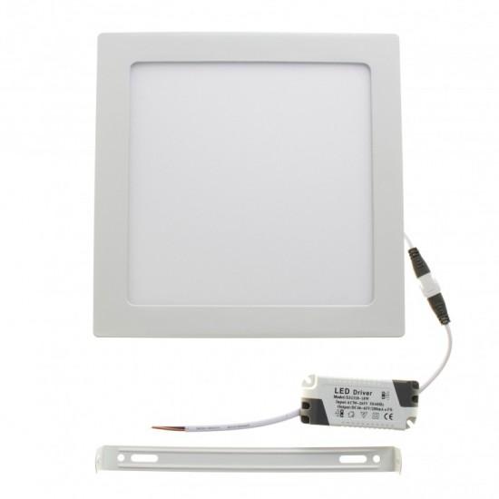 Panou LED aplicat, 18W, patrat, 6500K, alb