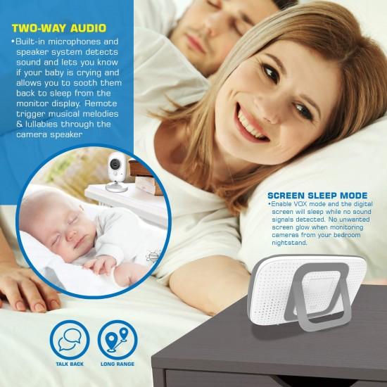 Baby Monitor Wireless, Audio Video, Monitorizare temperatura, Functie Push to Talk, VB808