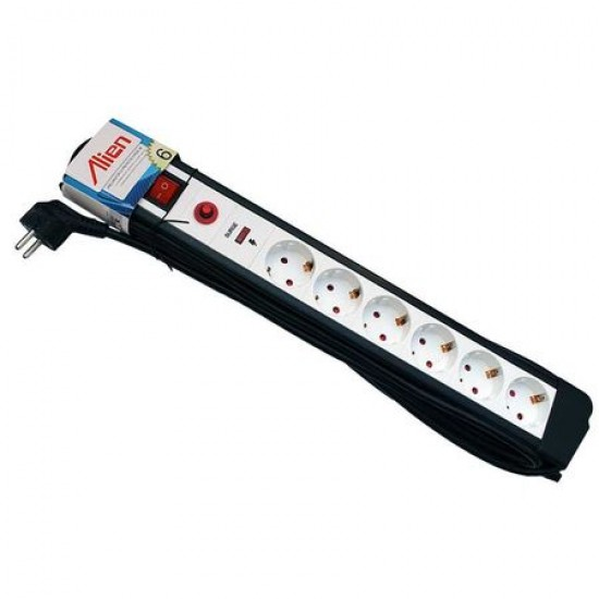 Prelungitor 6 prize 5m cu cablu 3x1,5mm cu protectie supratensiune