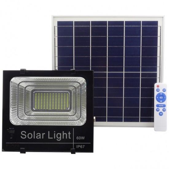 Proiector LED cu panou solar 60W