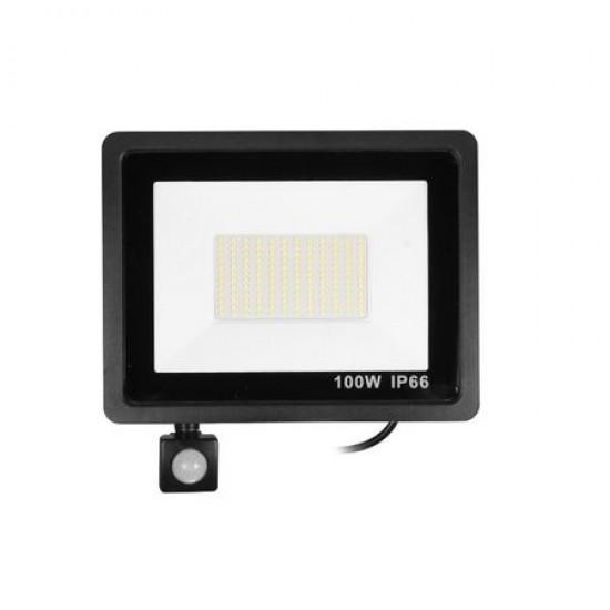 Proiector LED 100W cu senzor de miscare, 100W, 6500lm, 6500K, IP66
