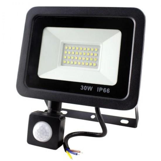 Proiector LED 30W cu senzor de miscare, 2700lm, 6500K, IP66
