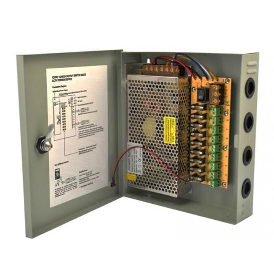 Sursa alimentare 12V-10A 9 iesiri in cutie metalica