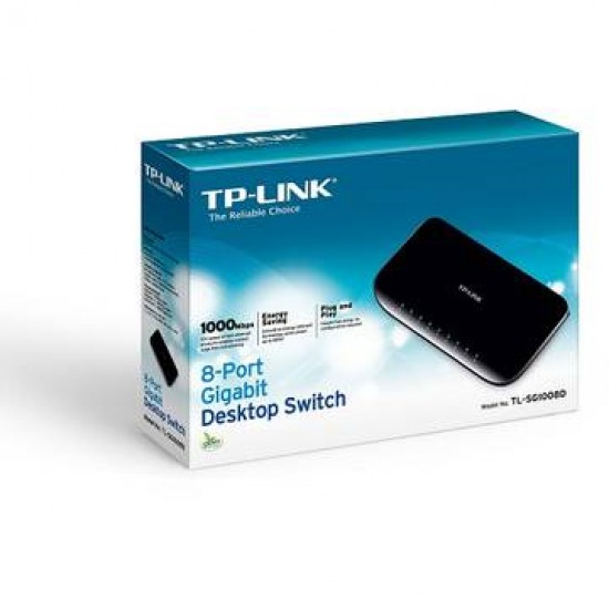 Switch TP-Link TL-SG1008D, 8 porturi Gigabit, Desktop, plastic