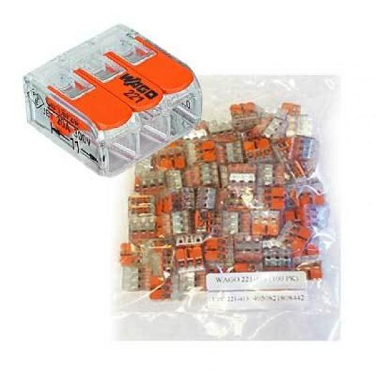 Set 100BUC conectori de terminale cu clips-tip WAGO-3x4mm- Transparent