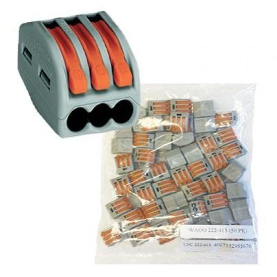Set 100BUC conectori de terminale cu clips-tip WAGO-3x4mm- Gri